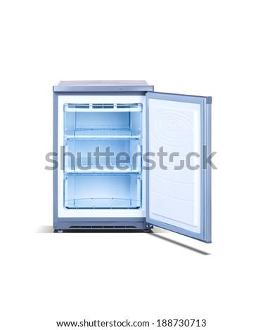 Grey small open freezer - stock photo