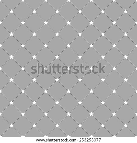 Grey stars and dots seamless pattern in rhomb shape. Repeating background for cover, presentation, web site, banner, etc. - stock photo