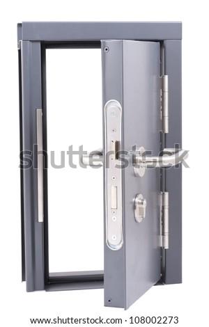 Grey steel door open - stock photo