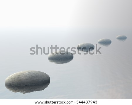 Grey stones steps upon the ocean by sunset - 3D render - stock photo