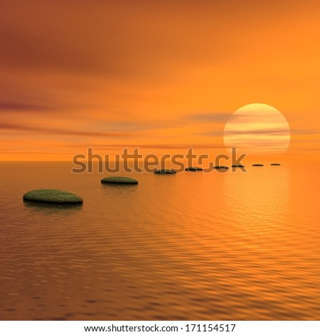 Grey stones steps upon the ocean going to sun by sunset - stock photo