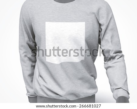grey sweatshirt with blank square - stock photo
