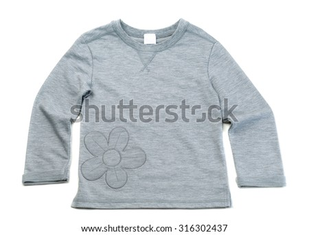 Grey T-shirt with long sleeves and a pattern in the shape of a flower. Isolate on white. - stock photo