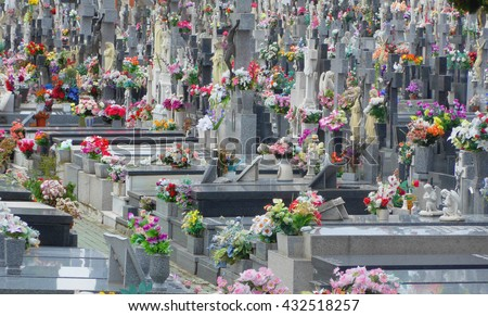 Grey tombstones decorated with many bright flowers in an spanish cemetery - stock photo