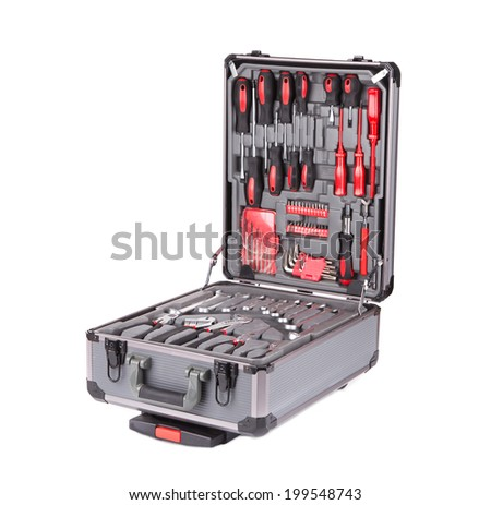 Grey toolbox with different instruments isolated on white - stock photo