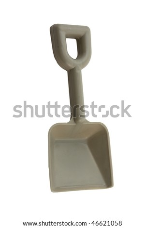 Grey toy shovel isolated on pure white - stock photo