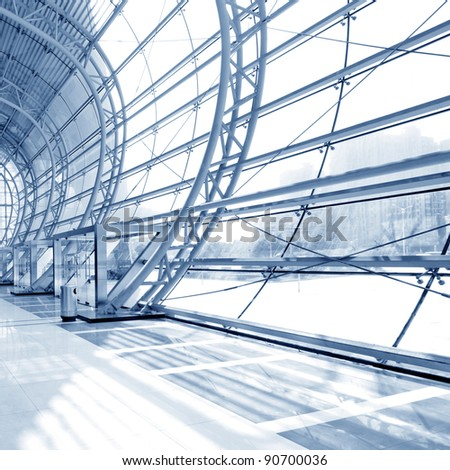 grey unusual geometric ceiling of office building - stock photo
