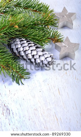Grey xmas background with cone - stock photo
