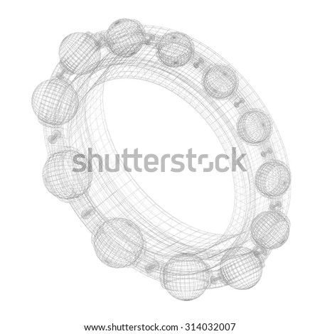 Grid, wireframe metal ball bearing. 3d illustration high resolution - stock photo