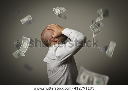 Grief. Expressions, feelings and moods. Business depression and recession concept. - stock photo
