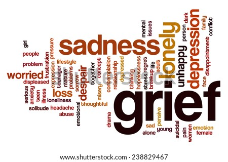 Grief word cloud concept with sad lonely related tags - stock photo