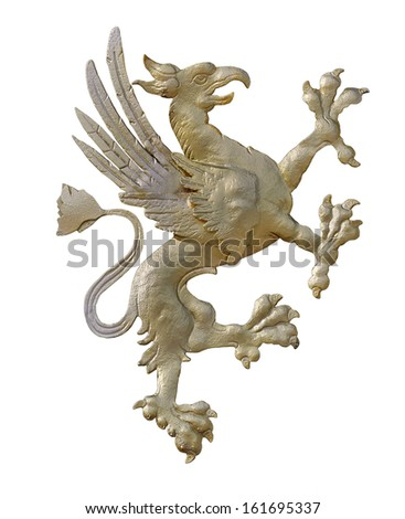 Griffin figure, isolated by clipping path on white background - stock photo