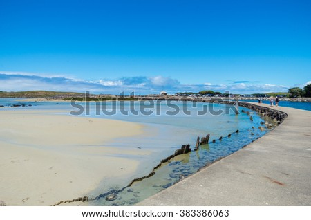 Griffith Island boardwalk at the northern end of Griffith Island near Port Fairy, Victoria, Australia. - stock photo