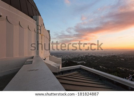 Griffith Observatory at sunset - stock photo