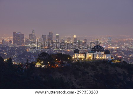 griffith observatory with Los angeles downtown  - stock photo