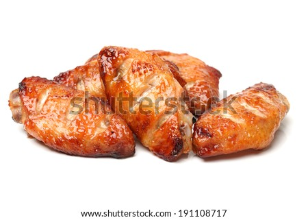 grill chicken wings on white background  - stock photo