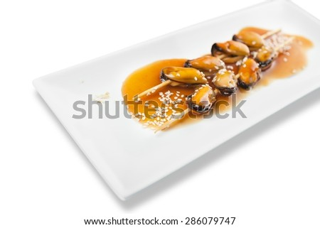 Grill, grilled, seafood. - stock photo