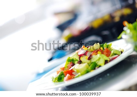 grill meat bbq and vegetable on stick prepare in kitchen at restaurant - stock photo