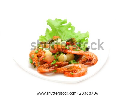 Grill of the shrimp with vegetables on a white background - stock photo