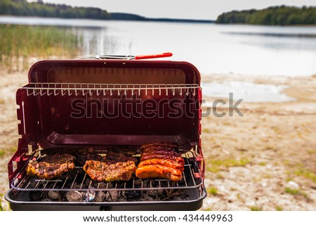 Grill on the lake on a sunny day. Slices of meat with fresh herbs and sausage. - stock photo