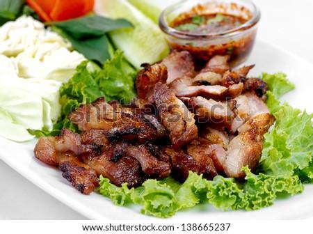 Grill Pork Traditional Thai Food - stock photo