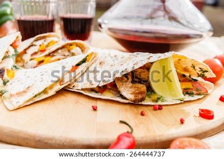 grill tortilla - stock photo