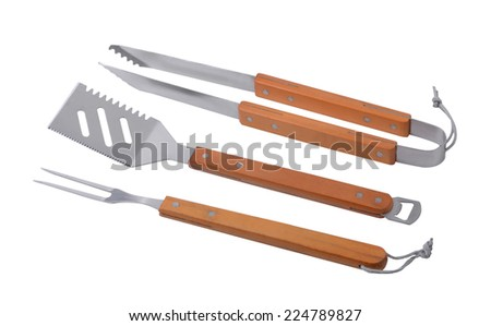 Grill Utensils isolated on white - stock photo