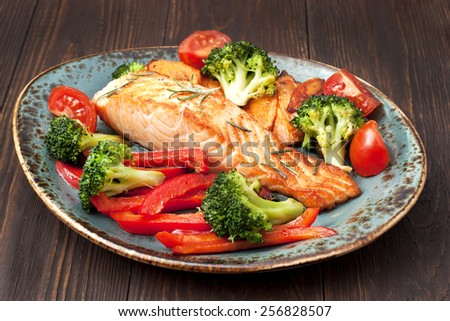 Grilled Atlantic salmon with vegetables. Delicious healthy eating. - stock photo