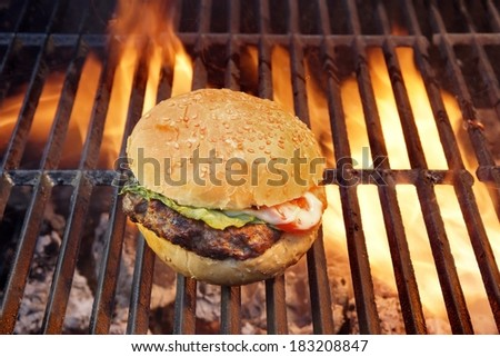 Grilled BBQ Cheeseburger and Burning Flame.  - stock photo