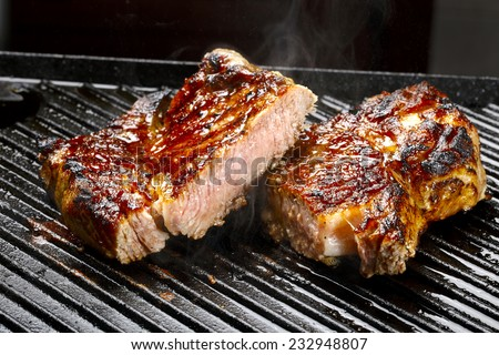 Grilled beef steak - stock photo