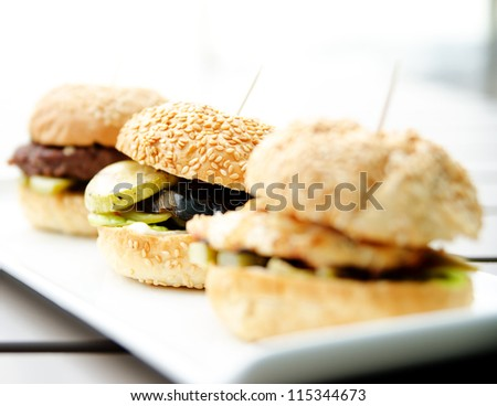 Grilled Burger Mini burgers - stock photo