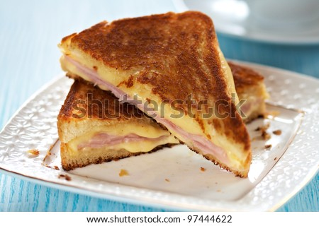 Grilled cheese sandwich with ham - stock photo