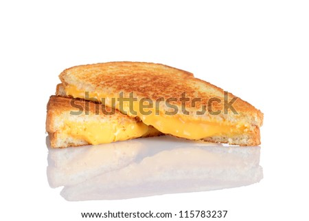 Grilled cheese sandwich with reflection - stock photo