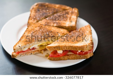 Grilled cheese sandwiches with tomato on plate, black background, close up - stock photo