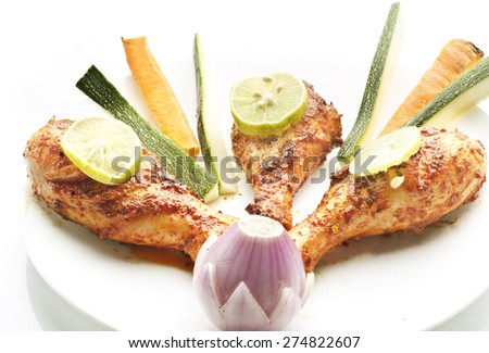 Grilled chicken drumstick - stock photo