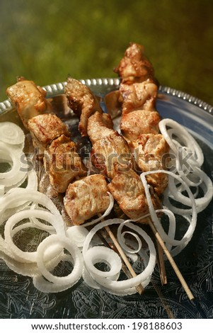 Grilled chicken fillet kebab with onion rings on a silver tray. Composition with shallow depth of field. - stock photo