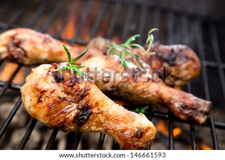 Grilled chicken Legs on the grill - stock photo