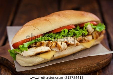 Grilled chicken sandwich - stock photo