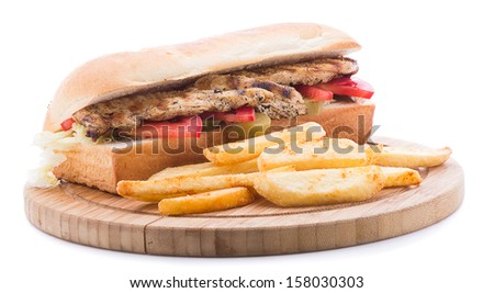 Grilled chicken sandwich with french fries isolated on white background  - stock photo
