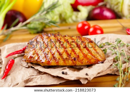 Grilled chicken steak - stock photo