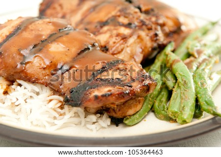 grilled chicken thighs with peanut sauce, fresh green beans and white rice - stock photo