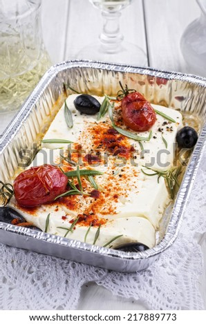 grilled feta cheese - stock photo