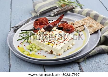 grilled feta cheese  - stock photo