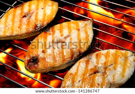 grilled fish on the grill - stock photo