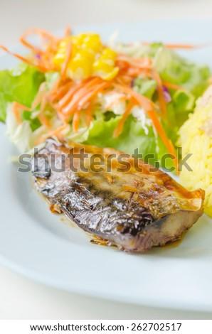 Grilled fish with fresh salad  , Saba fish teriyaki sauce japanese food - stock photo