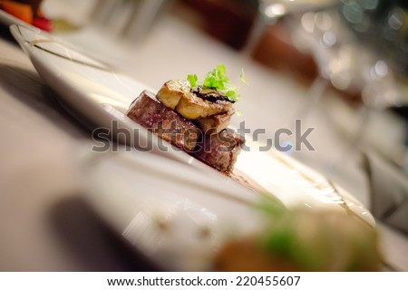 grilled foie gras - stock photo