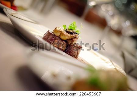 grilled foie gras - stock photo