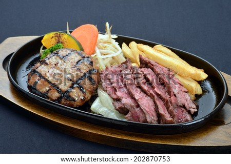Grilled Foods -Hamburger and lamb fillet with teriyaki sauce with Vegetables-2 - stock photo