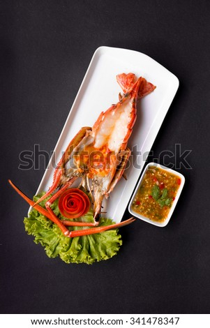 Grilled Giant River Prawn, top view on black background - stock photo
