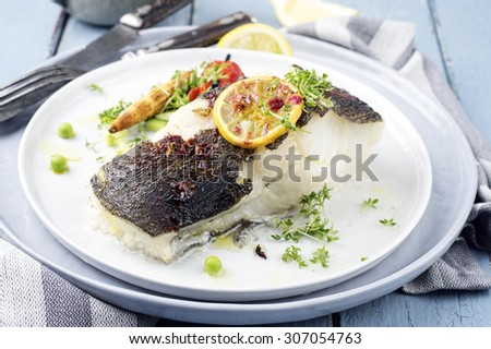 grilled halibut - stock photo